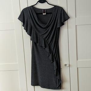❄️3/$25 Grey Ruffle Ruched Sweater Dress